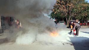 İtfaiyeden sağlık personeline yangın tahliye tatbikatı