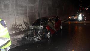 Bolu Dağı Tünelinde otomobil yandı