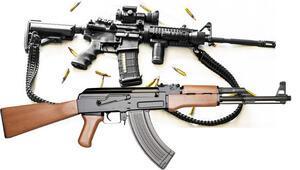 El BABta DEAŞ militanin bir elinde ABD bir elinde Rus silahı...