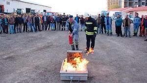 Palandöken belediyesi personeline yangın eğitimi verildi
