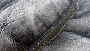 Beyaza bürünen Bolu Dağı, havadan görüntülendi