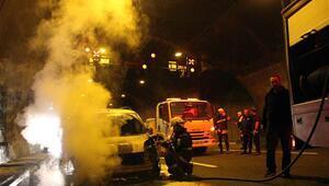 Bolu Dağı Tünelinde araç yangını