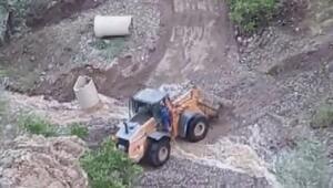 Maden ocağı önünde heyelan