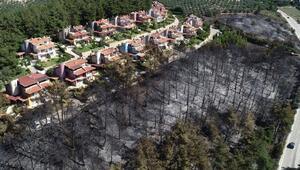 Mudanyada yerleşim alanlarına ulaşan yangında küle dönen bölge, havadan görüntülendi