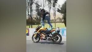 Motosikletteki şovu hüsranla sonuçlandı