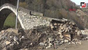 300 yıllık kemer köprü, yol çalışmasında hasar gördü
