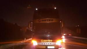 Seyir halindeki yolcu otobüsünde yangın çıktı, sürücü ve muavinler ölümden döndü