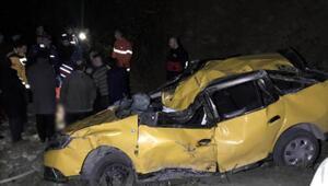 Kayalıklara uçan taksinin sürücüsü hayatını kaybetti