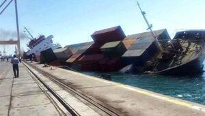 İranda konteyner yüklü gemi battı