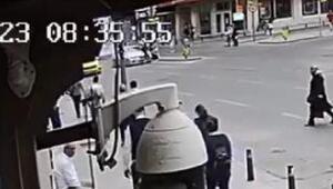 Şişlide yolun karşısına geçmeye çalışan yayaya  otomobilin çarpması kamerada