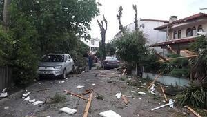 Kandırada hortum ağaçları devirdi, çatıları uçurdu