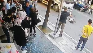 Annesinin elini bırakınca vinç çarptı