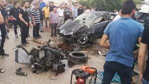 Ehliyet sürücünün bisikletliye çarptığı kazada araç motor yola savruldu: 5 yaralı