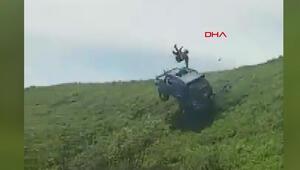 Arazi aracı takla attı, sürücü camdan çıktı