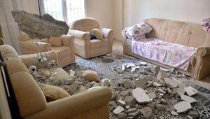 Salonda otururlarken bir anda tavan çöktü