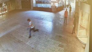 Şüphelinin kaçma anı güvenlik kamerasında