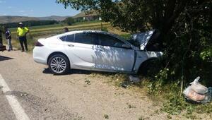 Otomobil yol kenarındaki ağaca çarptı: 4 yaralı