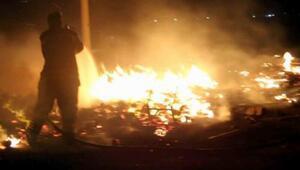 Turşu fabrikasının palet deposu yandı