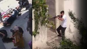 Komşusunu öldürüp, 4 yakınını yaralayan gencin tüfeği ateşlediği görüntüler çıktı