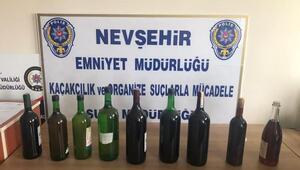 Nevşehirde 648 şişe kaçak şarap ele geçirildi