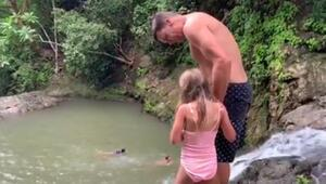 Ünlü modelin eşi 7 yaşındaki kızının elinden tuttu ve yamaçtan atladı: Tatilciler çığlık çığlığa izledi