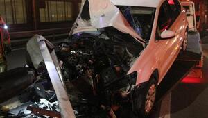 Sarıyerde kaza: Hurdaya dönen otomobilden yara almadan kurtuldu