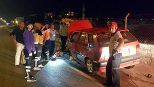 Alkollü sürücülerin kullandığı cip ile otomobil çarpıştı
