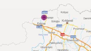 Edirnede 3,6 büyüklüğünde deprem