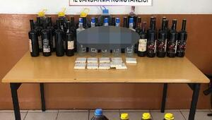Malkarada kaçak içki operasyonu: 3 gözaltı
