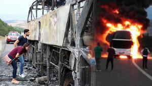 Bir anda içeriyi duman kapladı Seyir halindeki yolcu otobüsü yandı
