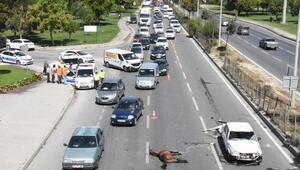 Otomobilin çarptığı atlar telef oldu; yolda araç kuyruğu oluştu