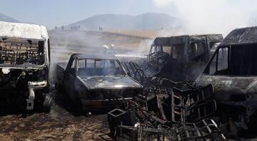 Yangın yediemin deposuna sıçradı, hurda araçlar yandı