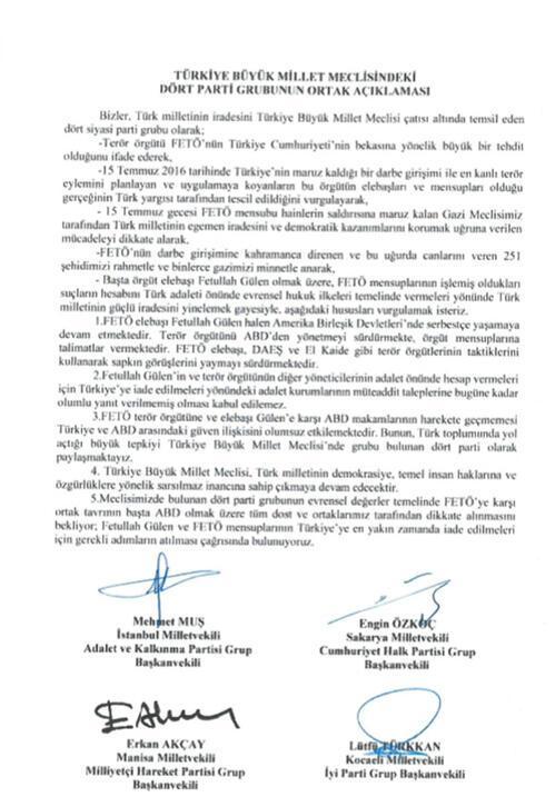 Son dakika... AK Parti, CHP, MHP ve İYİ Partiden ABDye çağrı