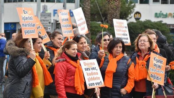 İzmirliler Turuncu Yürüyüşle kadına şiddete Hayır dedi