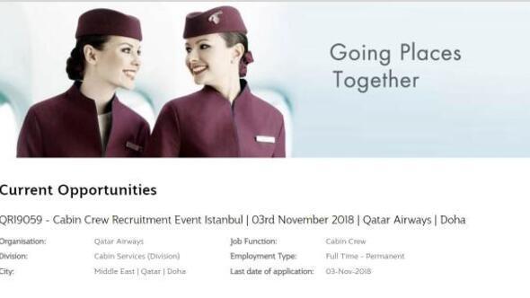Katar Havayolları İstanbulakabin görevlisi alımına geliyor