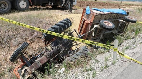Ön lastiği çıkan traktör devrildi:1 yaralı