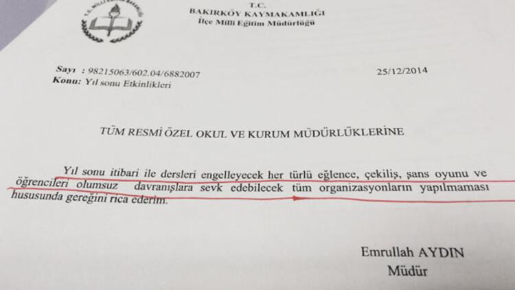 Bakırköy ve Sarıyer'deki okullarda yılbaşına yasak!