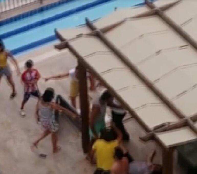 Havuz başında dehşet Nişanlı çifte bayıltan dayak