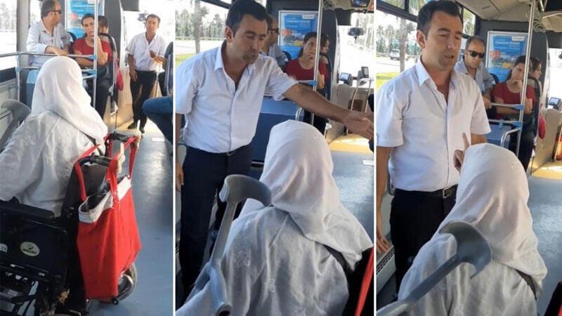Halk otobüsünde engelli rampası tartışması