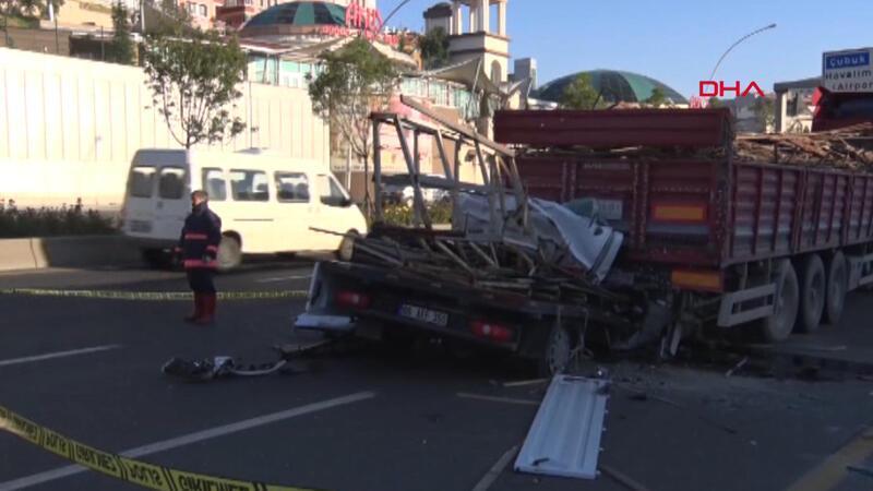 Ankara'da kamyonet tır'ın altına girdi