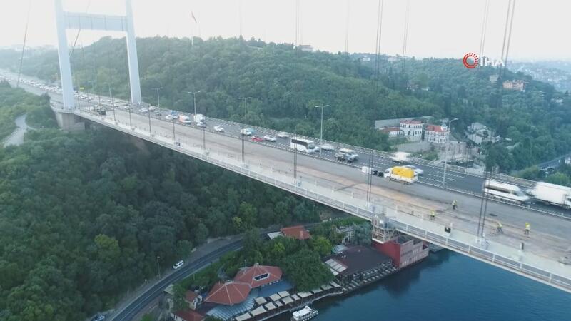 FSM Köprüsü'ndeki asfalt çalışmasının son hali havadan görüntülendi