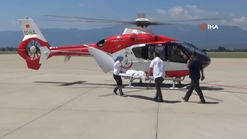 Kaynayan salça kazanına düşen bebek ambulans helikopter ile Ankara'ya sevk edildi