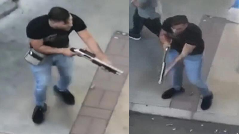 Sokak ortasında pompalı tüfekle dehşet saçan şüphelinin görüntüleri ortaya çıktı