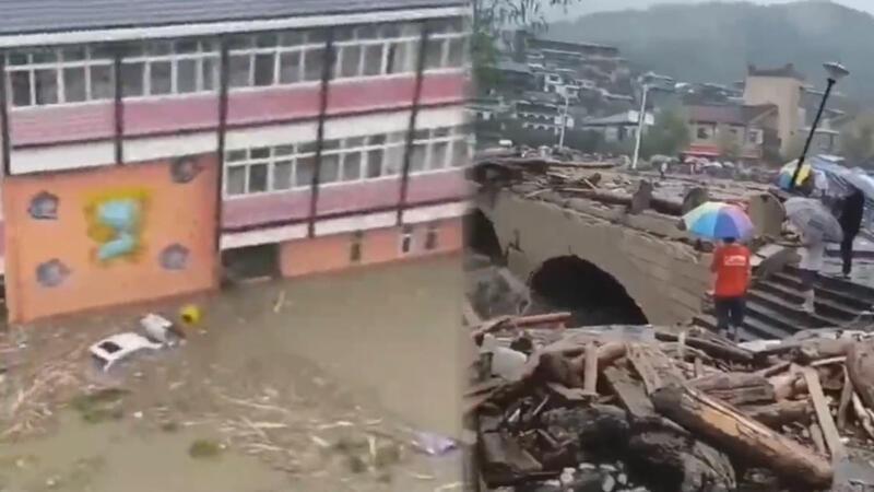 Çin'de şiddetli yağış sonrası heyelan