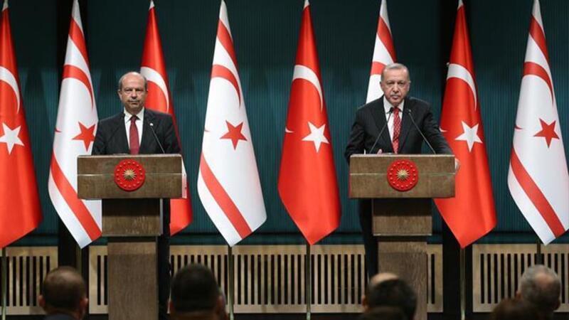Cumhurbaşkanı Erdoğan, KKTC Başbakanı Ersin Tatar ile ortak basın toplantısı düzenledi